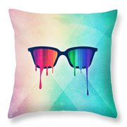 Love Wins Rainbow - Spectrum Pride Hipster Nerd Glasses Throw Pillow