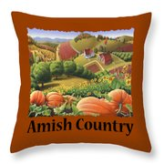 Amish Country - Pumpkin Patch Country Farm Landscape Throw Pillow