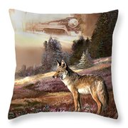 Encounter With The Iron Hors  Throw Pillow