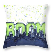 Seattle 12th Man Legion Of Boom Painting Throw Pillow