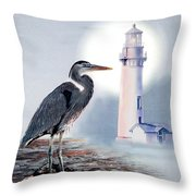 Blue Heron In The Circle Of Light Throw Pillow