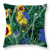 Butterfly Wildflowers Spring Time Garden Floral Oil Painting Green Yellow Throw Pillow