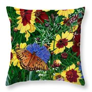Butterfly Wildflowers Garden Oil Painting Floral Green Blue Orange-2 Throw Pillow