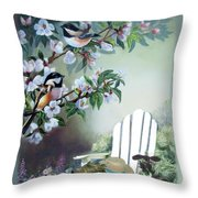 Chickadees In Blossom Tree Throw Pillow
