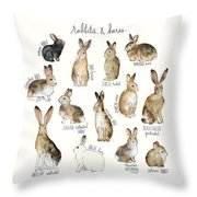 Rabbits And Hares Throw Pillow by Amy Hamilton