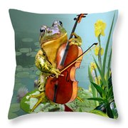 Humorous Scene Frog Playing Cello In Lily Pond Throw Pillow