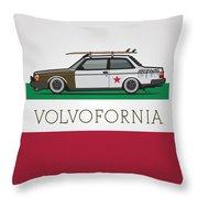 Volvofornia Slammed Volvo 242 240 Coupe California Style Throw Pillow