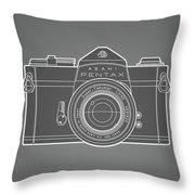 Asahi Pentax 35mm Analog Slr Camera Line Art Graphic White Outline Throw Pillow