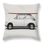 1969 Subaru 360 Young Ss - Creme Throw Pillow