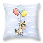 Grumpy Cat And Balloons Throw Pillow