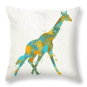 Giraffe Watercolor Art Throw Pillow