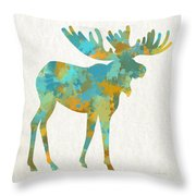 Moose Watercolor Art Throw Pillow