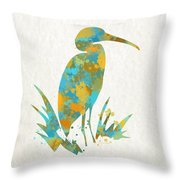 Heron Watercolor Art Throw Pillow