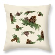 Mountain Lodge Cabin In The Forest - Home Decor Pine Cones Throw Pillow
