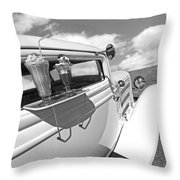 Deuce Coupe At The Drive-in Black And White Throw Pillow