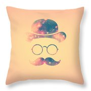 Retro Face With Moustache And Glasses  Universe  Galaxy Hipster In Gold Throw Pillow