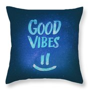 Good Vibes  Funny Smiley Statement Happy Face Blue Stars Edit Throw Pillow