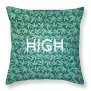 High Typo  Cannabis   Hemp  420  Marijuana   Pattern Throw Pillow