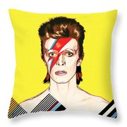 David Bowie Pop Art Throw Pillow
