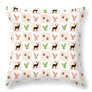 Rustic Wildlife Pattern Throw Pillow