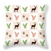 Rustic Wildlife Pattern Throw Pillow