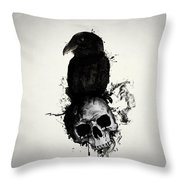 Raven And Skull Throw Pillow