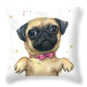 Cute Pug Puppy Throw Pillow