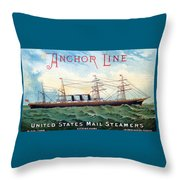 1885 Steamship City Of Rome Throw Pillow