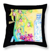 Orchids And Blue Vase Throw Pillow