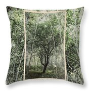 Blue Vintage Hand Of God Apple Tree Throw Pillow
