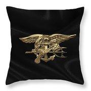 U.s. Navy Seals Trident Over Black Flag Throw Pillow
