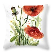 Red Poppies Watercolor Throw Pillow