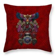 Chinese Masks - Large Masks Series - The Demon Throw Pillow by Serge Averbukh