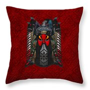 Chinese Masks - Large Masks Series - The Red Face Throw Pillow by Serge Averbukh