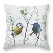 Birds In Tree Throw Pillow