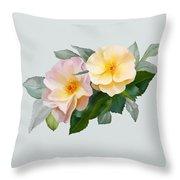 Two Wild Roses Throw Pillow