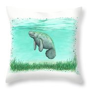Mossy Manatee Throw Pillow
