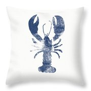 Blue Lobster- Art By Linda Woods Throw Pillow by Linda Woods