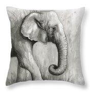 Elephant Watercolor Throw Pillow