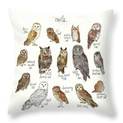 Owls Throw Pillow by Amy Hamilton