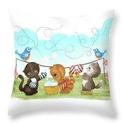 Kittens Washing Mittens Throw Pillow
