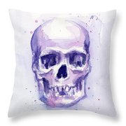 Purple Skull Throw Pillow