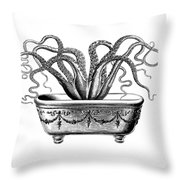 Tentacles In The Tub Throw Pillow