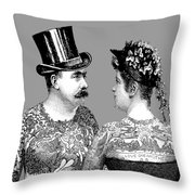 Tattooed Victorian Lovers Throw Pillow