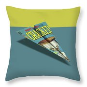 109s Cracked Mad Paper Airplanes Throw Pillow
