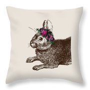 Rabbit And Roses Throw Pillow