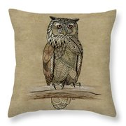 Paper Bag Owl Throw Pillow