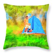 Summer Memories On Open Pond Throw Pillow by Mark Tisdale