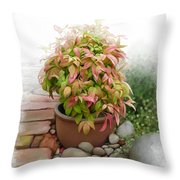 Dew On Leaves Throw Pillow