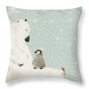 Penguin And Bear Throw Pillow